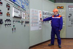 Engineer checks indication on fire fighting panel